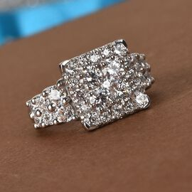 J Francis - Platinum Overlay Sterling Silver Ring made with SWAROVSKI ZIRCONIA 3.92 Ct