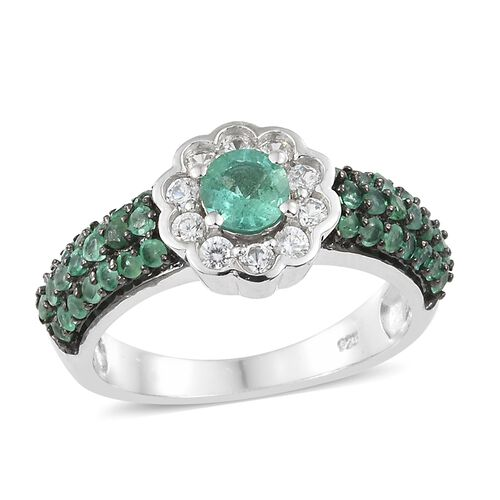 AA Kagem Zambian Emerald (Rnd), Natural Cambodian Zircon Flower Ring in Platinum Overlay Sterling Silver 1.500 Ct. Number of Gemstone 52