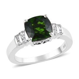 Russian Diopside (Cush 2.10 Ct) and Natural White Cambodian Zircon Ring in Platinum Overlay Sterling