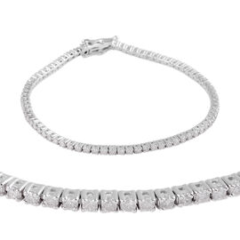 9K White Gold Diamond (Rnd) (I3 / G-H) Bracelet (Size 7.25)  2.06 Ct, Gold wt 7.30 Gms