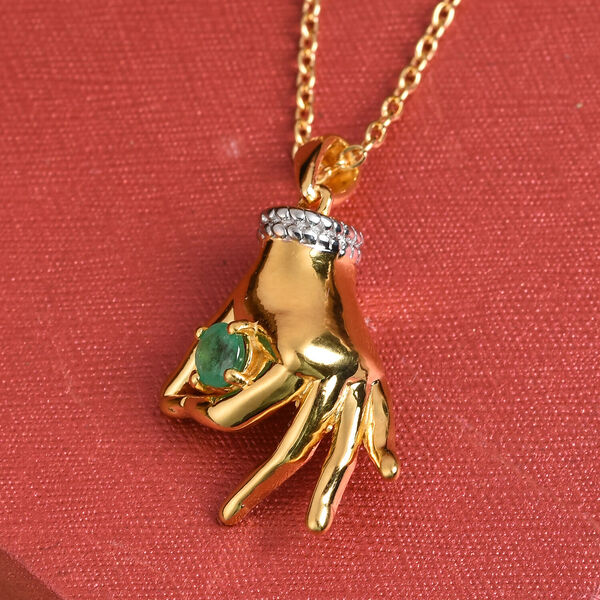 Kagem Zambian Emerald Mudra Hand Pendant With Chain (Size 20) in Yellow Gold and Platinum Overlay St