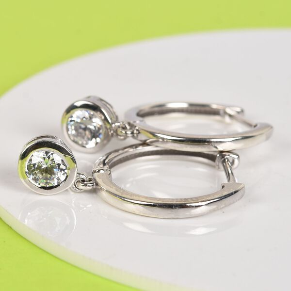 J Francis - Platinum Overlay Sterling Silver Earrings (with Clasp) Made with SWAROVSKI ZIRCONIA 1.74