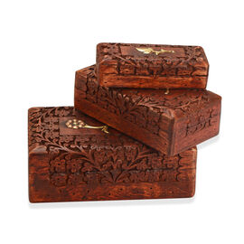 3 Piece Set- Handcrafted Flower Nested Boxes In Mango Wood With Rosewood Finish (Small Size 5.3x2.25