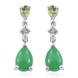 Green Jade (Pear), Hebei Peridot and White Topaz Earrings (with Push Back) in Sterling Silver 3.500 Ct.