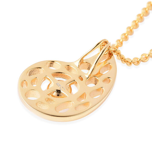 RACHEL GALLEY - Freshwater Pearl Pendant with Chain (Size 30) in Yellow Gold Overlay Sterling Silver, Silver wt. 10.86 Gms