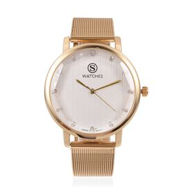 STRADA Japanese Movement White Austrian Crystal Studded Water Resistant Watch in Gold Tone with Mesh Chain Strap