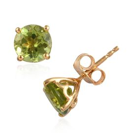 Hebei Peridot (Rnd) Stud Earrings (with Push Back) in 14K Gold Overlay Sterling Silver 3.000 Ct.
