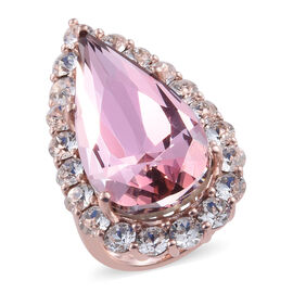 J Francis - Crystal from Swarovski Antique Pink Crystal (Pear 30x15 mm), White Crystal Ring in Rose Gold Overlay Sterling Silver, Silver wt 8.87 Gms.