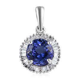 RHAPSODY 950 Platinum AAAA Tanzanite (Rnd), Diamond (VS/E-F) Pendant 1.53 Ct.