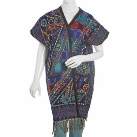Hand Embroidered Adda Work-Floral Pattern Blue and Multi Colour Geometry Jacket (Size 90x65 Cm)