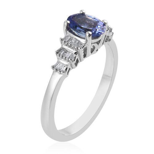 Premium Tanzanite and Diamond Ring in Platinum Overlay Sterling Silver 1.00 Ct.