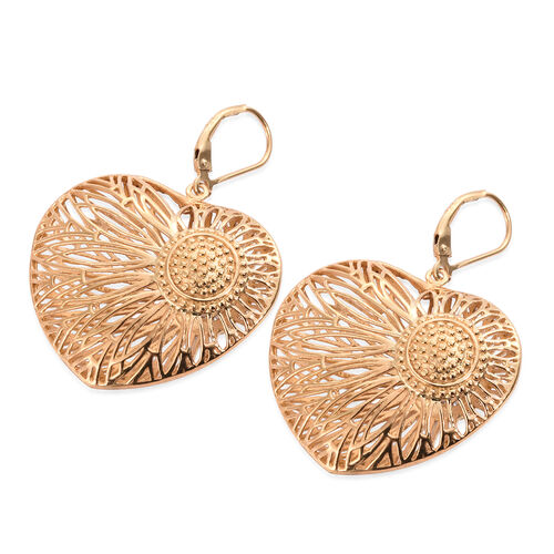 J Francis- Made with SWAROVSKI ZIRCONIA Heart Lever Back Earrings in Gold Plated Silver 13 grams