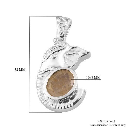Golden Rutilated Quartz Pendant in Silver Tone 2.50 Ct.