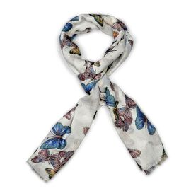 Multi Colour Butterfly Pattern Scarf (Size 180x70 Cm)