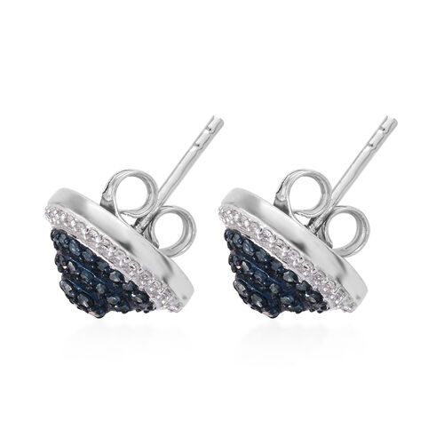 Close Out Deal- Blue and White Diamond (Rnd) Stud Earrings in Platinum Overlay Sterling Silver 0.738 Ct,