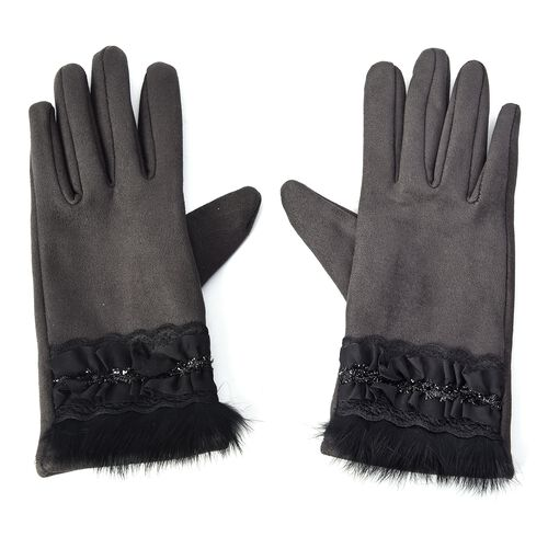 Solid Colour Women Winter Gloves with Pleated Embellishment and Faux Fur on the Wrist (Size 8.9x22.9