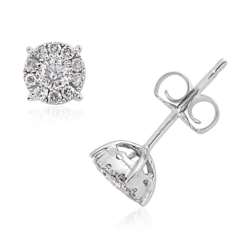 New York Close Out Deal - 14K White Gold Diamond (Rnd) (I1-I2 G-H) Stud Earrings (with Push Back) 0.250 Ct.