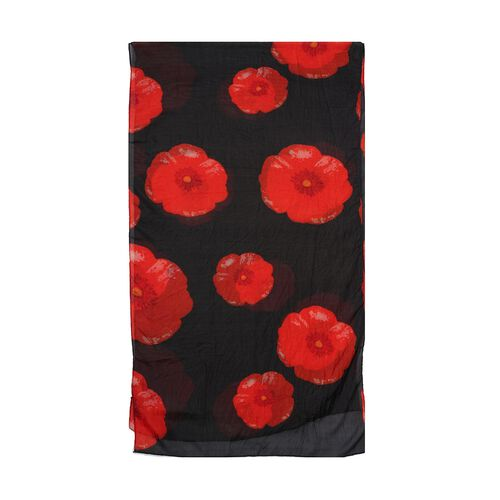 100% Mulberry Silk Poppy Print Scarf (180x50cm) - Black