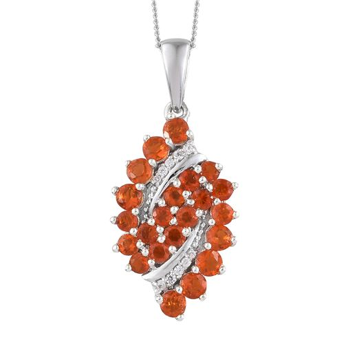 1.25 Ct Fire Opal and Cambodian Zircon Cluster Pendant With Chain in Silver