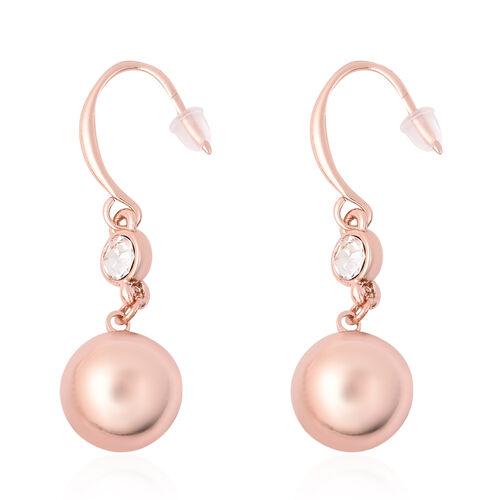 White Austrian Crystal Ball Drop Hook Earrings in Rose Gold Tone