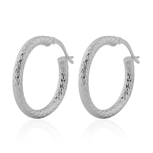 NY Close Out Deal- Rhodium Overlay Sterling Silver Hoop Earrings
