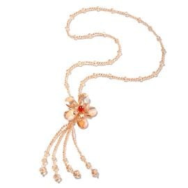 Designer Inspired Simulated Champagne Diamond and Red Quartzite Long Floral Necklace (Size 30)