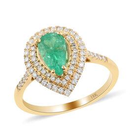 ILIANA 18K Yellow Gold AAAA Boyaca Colombian Emerald and Diamond (G-H/S-I) Ring 1.50 Ct