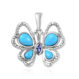 Arizona Sleeping Beauty Turquoise (Pear), Tanzanite Butterfly Pendant in Platinum Overlay Sterling S