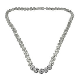 ELANZA Simulated Diamond (Rnd) Necklace (Size 18) in Rhodium Plated Sterling Silver, Silver wt 31.50