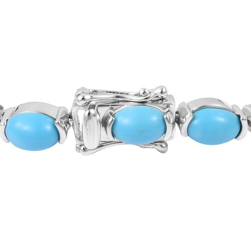 Arizona Sleeping Beauty Turquoise (Ovl) Bracelet (Size 7.5) in Rhodium Overlay Sterling Silver 16.500 Ct., Silver wt 11 Gms.
