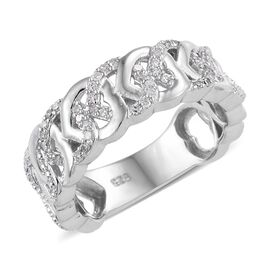 Diamond Platinum Overlay Sterling Silver Ring  0.150  Ct.
