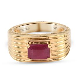 GP Art Deco Collection - African Ruby and Kanchanaburi Blue Sapphire Ring in 14K Gold Overlay Sterli