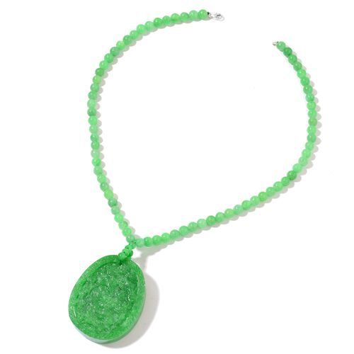 Exclusive Edition- Rare AAA Hand Carved Dragon and Phoenix Carved Green Jade Reversible Necklace (Size 18) in Rhodium Plated Sterling Silver 380.000 Ct.