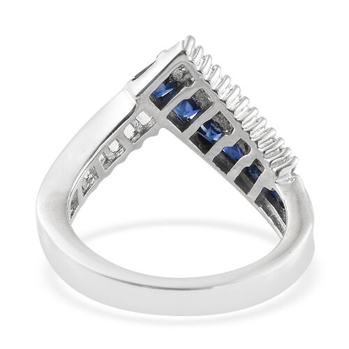 Kanchanaburi Blue Sapphire (Sqr), Natural Cambodian Zircon Wish Bone Ring in Platinum Overlay Sterling Silver 1.500 Ct.