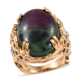 21.50 Ct Ruby Zoisite Solitaire Ring in 14K Gold Plated Silver 8.19 Grams