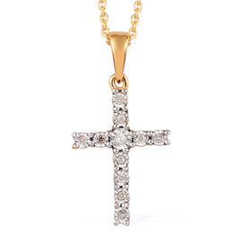 Diamond (Rnd) Cross Pendant with Chain (Size 20) in 14K Gold and Platinum Overlay Sterling Silver 0.