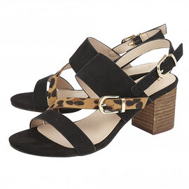 Lotus Black and Leopard-Print Melissa Sling-Back Sandals