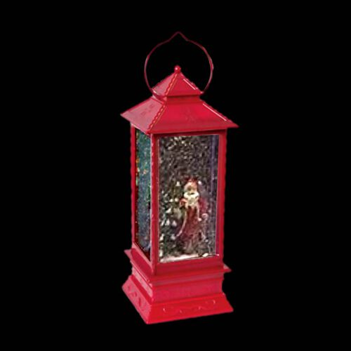 LED Water & Glitter Santa Lantern (Size 10.5x10.5x27.5cm) - Red (3xAA Battery not Included)