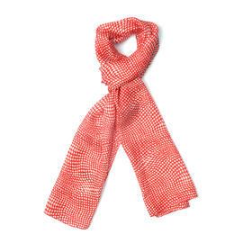 New for Season - 100% Mulberry Silk Red and White Colour Scarf (Size 175x50 Cm)
