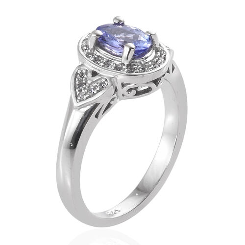 Tanzanite (Ovl 7x5 mm, 0.80 Ct), Natural Cambodian Zircon Ring in Platinum Overlay Sterling Silver 1.000 Ct.