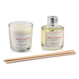 2 Piece Set - Scented Candle and Reed Diffuser with 6 Bamboo Reed - 50 ML (Sweet Orange Fragrance)
