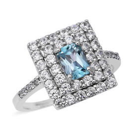 Ratnakiri Blue Zircon and Cambodian White Zircon Double Halo Ring in Rhodium Plated Silver