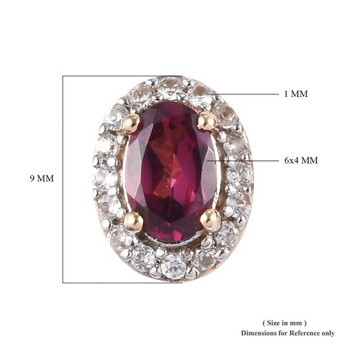 9K Yellow Gold Rhodolite Garnet (Ovl), Natural Cambodian Zircon Stud Earrings (with Push Back) 1.33 Ct.