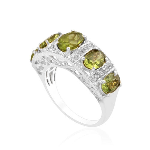 Hebei Peridot (Ovl 3.75 Ct), White Topaz Ring in Platinum Overlay Sterling Silver 4.000 Ct.