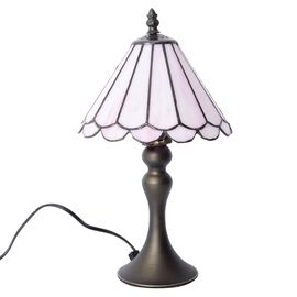 Home Decor - Pink Colour Umbrella Shape Tiffany Style Table Lamp with Handcrafted Stained Glass