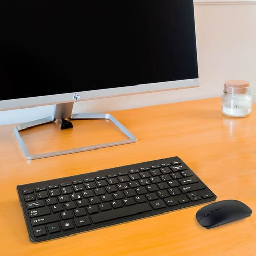 Ultra Slim and Portable 2.4G Wireless Keyboard, Optical Mouse with 2 in 1 USB Receiver Kit - Black