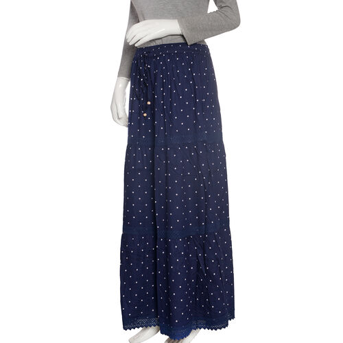 Navy with White Polka Dots Skirt with Lace Detail (Size 100x74 Cm)