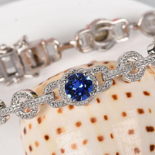 J Francis - Crystal from Swarovski Tanzanite Colour Crystal Bracelet (Size 7.5) in Platinum Plated