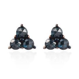 9K White Gold Blue Diamond Stud Earrings (with Push Back) 0.25 Ct.