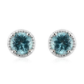 Paraibe Apatite Solitaire Stud Earrings (with Push Back) in Sterling Silver